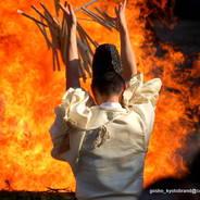御火焚祭   参列者一同の大祓詞(おおはらえのことば)が祭場に轟く。
