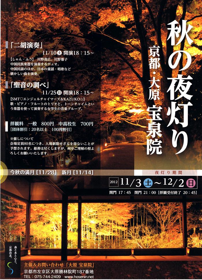 額縁庭園の秋の夜灯り /大原 宝泉院