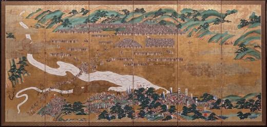 朝鮮軍陣図屏風 3隻の2 大久保雪堂画 佐賀市徴古館蔵