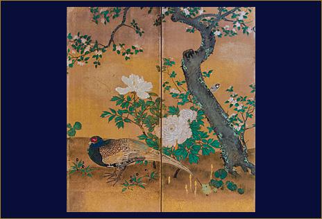狩野山楽筆「四季花鳥図屏風」 大覚寺蔵