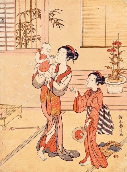 鈴木春信「夏姿 母と子」 明和4〜5年(1767〜68) 公文教育研究会蔵