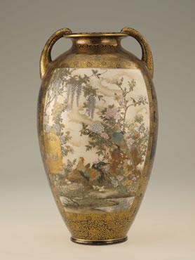 花鳥図花瓶/ 錦光山 高37.5 cm