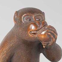 猿根付 線刻銘「正直」 当館