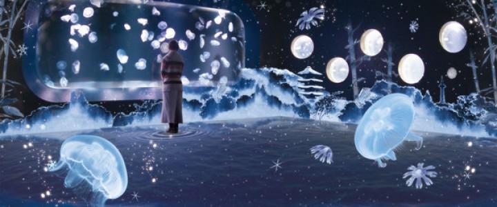 雪景色をイメージした音楽は、ミズクラゲの拍動をベースのゆったり静けさ漂う。